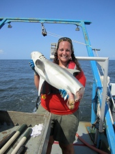 Crystal Hightower takes interns to help her collect shark measurements