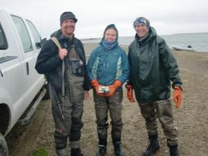 Roy, me, and Dr. Ken Dunton after a cold day in the field