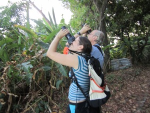Coralie and Ivan birding on Isla Canales de Tierra