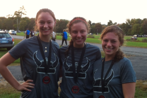 All smiles after finishing the Warrior Dash 5k. From L to R: Stephanie, Carrie, Laura