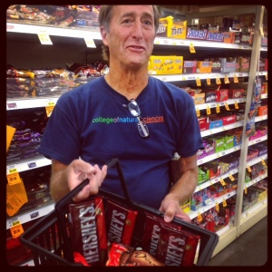 Dr. Dunton stocking up on chocolate rations for his cruise! Ken will be on a smaller boat, doing nearshore work while the rest of UT's crew is on the Norseman