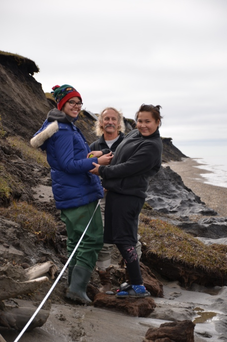 Kim and Doe Doe set up a transect tape along the eroding bluffs at the west end of Barter Island as part of our erosion survey