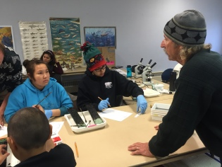Students describe sediment cores from Kaktovik lagoon and a freshwater pond