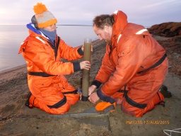 Will and me capping a sediment core (Photo credit: Greta Burkart)