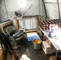 This polar haven is all set up for a 4am Limno Run! Note the sampling winch, sampling bottles arranged by depth, and squeaky clean Niskin bottle.