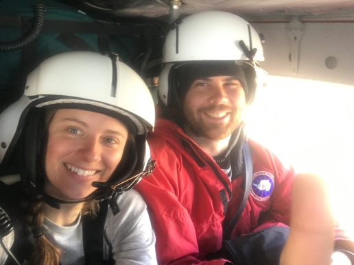 Carrie & Peter in a 212 Helo, excited to head into the field!